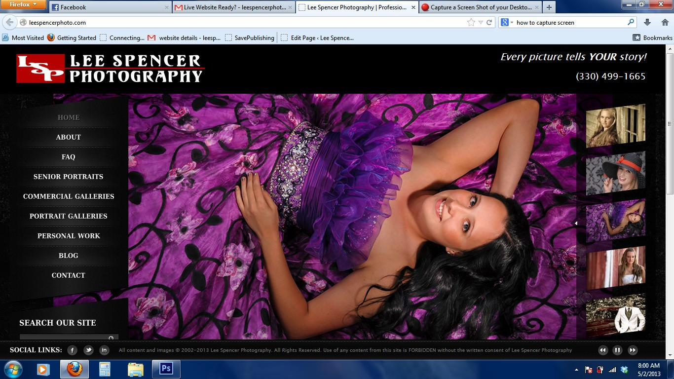 Lee Spencer Photography Website Screen shot